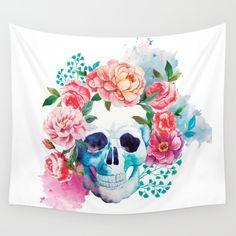 skull, flowers, flower, skeleton, death, dying, happy,