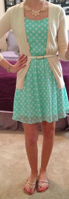 Polka dot dress and tan cardigan. Perfect for work.
