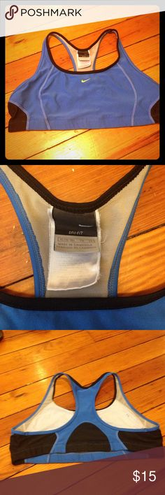Nike dry fit sports bra size xl 16-18 Nike dry fit sports bra size xl 16-18. Blue and black with yellow Nike swoosh. Good condition. One small stain on inside Nike Intimates & Sleepwear Bras