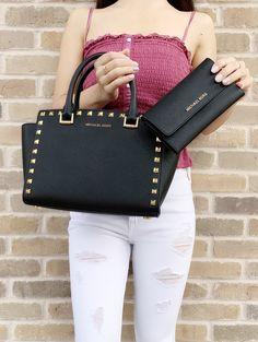 4a1c4038532c Michael Kors Medium Selma Studded Black Satchel Saffiano Leather Trifold  Wallet SET