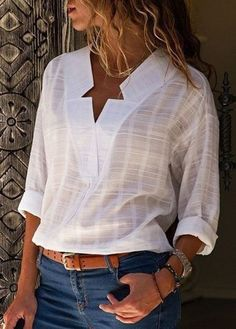 Women Shirt Casual Cotton Elegant V neck Long Sleeve Plus Size Blouse Blouse En Coton, Blouse Col V, V Neck Blouse, Linen Blouse, Tops Boho, Denim Mantel, Sexy Bluse, Top Casual, Winter Blouses