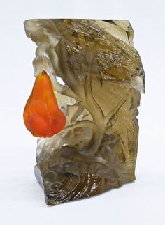 Barry Sautner ''Precious Bud'' Sand Carved Art Glass : Lot 273