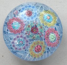 Baccarat Paperweights.. Roundels on Laticino  Ground