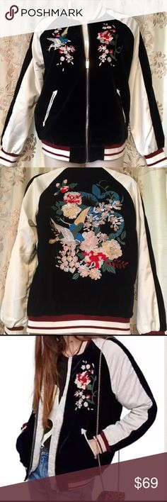 "1DAY Gorgeous floral embroid VELVET & satin BOMBER HOLIDAY ALERT✨THE MUST HAVE ULTIMATE ""IT"" jacket of the SEASON‼️Simply GORGEOUS unique BOMBER IN VELVET AND SATIN w embellished Embroidered flowers on VELVET panels front and back - This jacket has everything LUXE✨ VELVET ✅ SATIN✅EMBROIDERY✅ FLOWERS✅✅RED WHITE & BLACK HOLIDAY colors ✅✅✅❗️SATIN BASEBALL BOMBER SLEEVES WITH BASEBALL STRIPE ELASTIC TRIM - highest quality jacket⚜️just stunning for holiday wear or be a HERO AND GIFT THIS BEAUTY…"