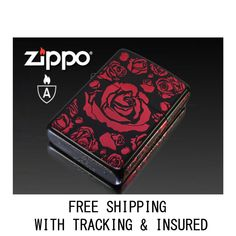 NEW AUTHENTIC RED ROSES BLACK BACK GROUND JAPAN VERSION FREE SHIPPING #ZIPPO