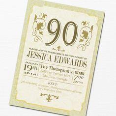 90th Birthday Invitation / DIY Printable