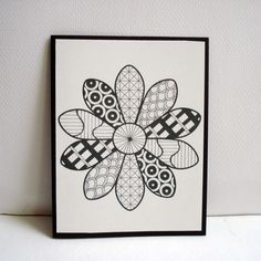 Daisy Zentangle Cards / / Set of 4 Greeting Cards. $12.00, via Etsy.