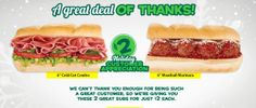"Subway: Meatball Marinara or Cold Cut Combo 6"" Subs just $2.00"