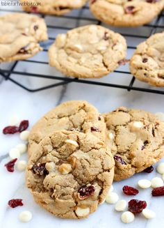 Cranberry white chocolate cookies are crispy and chewy..the best combination!