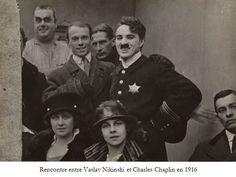 Vaslav Nijinsky and Charlie Chaplin. 1916