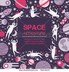 Vector space objects, symbols and design elements, spaceships, planets, stars, rocket, sun satellite Vector illustration