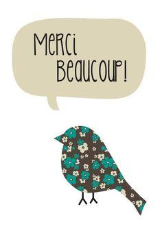 Greeting Card - 'Merci Beaucoup'. $5.00, via Etsy.