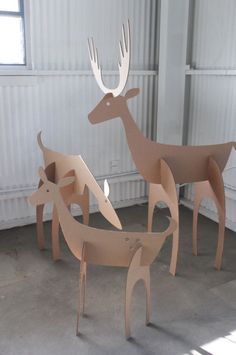 Cardboard Christmas Deer Family by MettaPrints