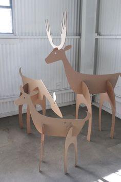 Cardboard Christmas Deer Family by MettaPrints - DIY CRAFTS & MORE