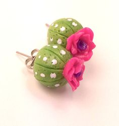 Cactus and Pink Rose Polymer Clay Stud Earrings by GillyMillie, $15.00