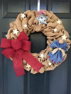 CLEARANCE Christmas Angel Burlap Wreath Country Christmas | Etsy #FabricScissors Wood Stars, Metal Stars, Star Ornament, Angel Ornaments, Burlap Ribbon, Burlap Wreath, Summer Wreath, 4th Of July Wreath, Handmade Angels