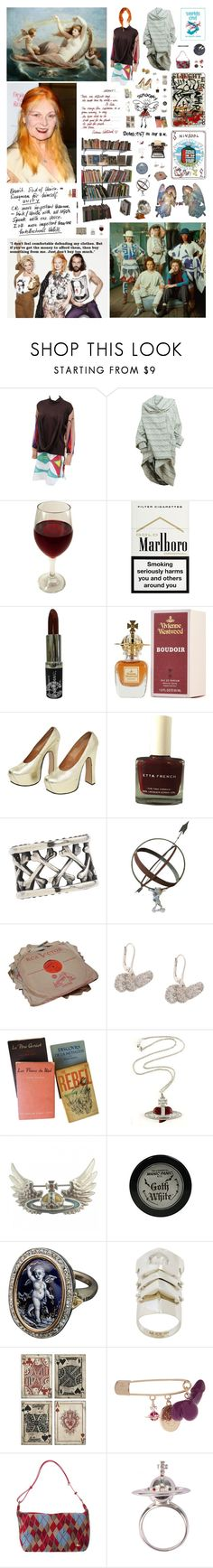 """The sexiest people are thinkers. Nobody's interested in somebody who's just vain with a hole in their head, talking about the latest thing - there is no latest thing. It's all rubbish. – Vivienne Westwood."" by nothingisnormal ❤ liked on Polyvore featuring Vivienne Westwood, Manic Panic NYC, Pearl & Queenie, Universal Lighting and Decor, Maybelline and vintage"
