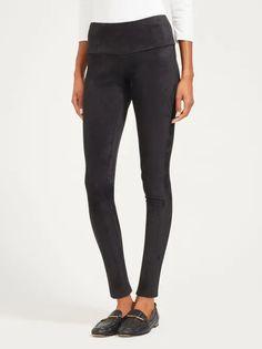 Black Lori Leggings | Women's Pants | J.McLaughlin Suede Leggings, Black Leggings, Hands On Hips, J Mclaughlin, Solid Black, Women's Pants, Pants For Women, Black Jeans, Cold