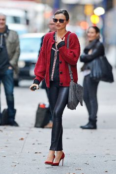 Model Miranda Kerr shows off her street style in New York City as she is out and about