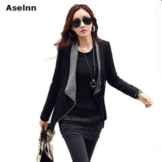 >> Click to Buy << Aselnn New Fashion Spring Autumn Zipper Jacket Black Grey Stitching Womens Jackets & Coats #Affiliate