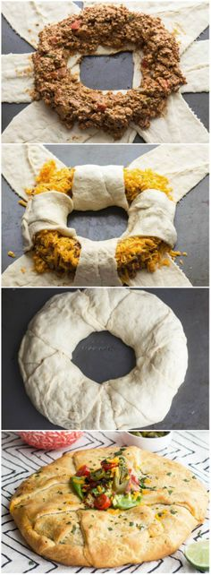 Chipotle Chicken Taco Ring Recipe ~ Chipotle chicken taco mixture is wrapped inside a golden baked crescent shell.