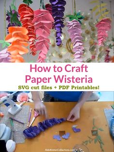 Create stunning DIY paper wisteria flowers step by step using these paper flower SVG templates or PDF printables, plus full video tutorial! video paper How to Make Paper Wisteria Flowers Step By Step Paper Flowers Craft, Giant Paper Flowers, Flower Crafts, Diy Flowers, Flower Svg, Paper Flower Garlands, Paper Flowers How To Make, Diy Paper Crafts, Hanging Paper Flowers