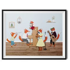 Fantastic Mr Fox, Band of Foxes original giclee art print. Illustration by Rachael Edwards.  The original artwork is delicately cut and created out of