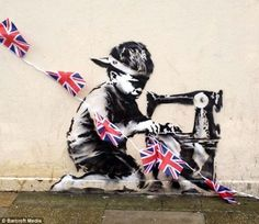 Banksy's Diamond Jubilee 'Tribute': Executed in his usual sharply political style, this image of a child slaving over a sewing machine to produce a Union Jack Flag appeared next to a Poundland shop in north London just in time for the Queen's Jubilee celebrations this weekend. The authenticity of the work was confirmed when Banksy posted a photo of it on his website.