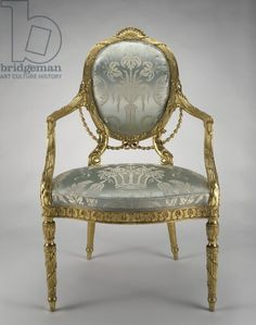 Armchair, c.1779 (beech, various secondary woods, gilding & upholstery), English School, (18th century) / Museum of Fine Arts, Houston, Texas, USA / The Rienzi Collection, museum purchase funded by Mr. and Mrs. Harris Masterson III / Bridgeman Images