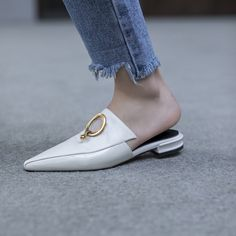 #chiko #shoes #mules #loafers #mesh #golden #ring #white