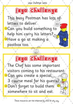 Teacher's Pet - Premium Printable Classroom Activities & Games - Classroom Resources, games and activities for Early Years (EYFS), Key Stage 1 and Key Stage 2 Lego Challenge, Challenge Cards, Lego Therapy, Lego Activities, Lego Games, Lego Club, After School Club, Lego For Kids, School Clubs