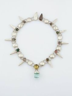sterling silver, citrine, natural blue topaz, and tourmaline necklace by Shawn Bluejacket-Roccano (Shawnee)