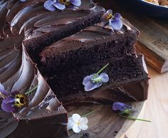 Giant Chocolate Cake with Bittersweet Chocolate Ganache and Edible Flowers