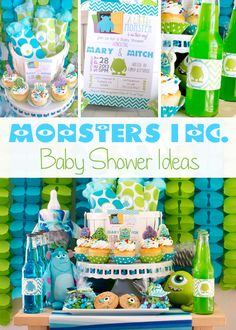 """Scary Fun Monsters Inc. Baby Shower Ideas - """"We scare because we care!"""" Your guests are sure to have a scary good time at this """"Monsters Inc. Celebrate the impending arrival of Baby Shower Niño, Shower Bebe, Boy Baby Shower Themes, Baby Shower Gender Reveal, Baby Shower Games, Baby Shower Parties, Shower Party, Babyshower Themes For Boys, Shower Favors"""