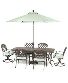"Nottingham Outdoor Patio Furniture, 7 Piece Set (84"" x 38"" Dining Table, 4 Dining Chairs, 2 Swivel Chairs) - LIMITED-TIME SPECIALS - furnitu..."