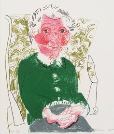 David Hockney 'Portrait of Mother I' 1985. The artist has captured his mothers nature with love and affection. Possibly the most heartwarming portrait I have seen, you can't help but picture your own loved ones.