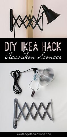 What happens when you combine a $5 Ikea accordion mirror and a $7 hardware store clamp light? You get one incredibly stylish, easy, and affordable DIY accordion sconce!