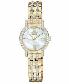 Citizen Women's Eco-Drive Silhouette Gold-Tone Stainless Steel Bracelet Watch 22mm EX1242-56D