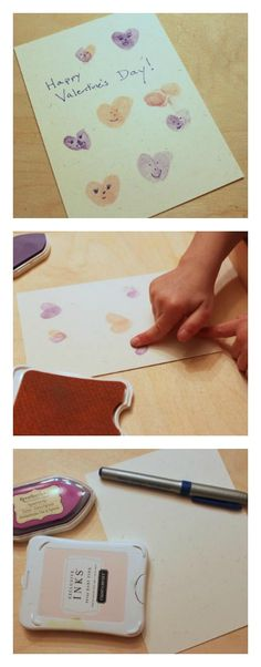 DIY Valentine Cards - Just need stamp pads, markers, papers, and fingers! Perfect card for Daddy!