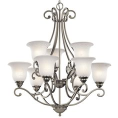 Kichler Camerena Brushed Nickel Transitional Chandelier at Lowe's. The Camerena™ 9 light 2 tier chandelier features a traditional style with its gently curled metal accents in Brushed Nickel finish and Nickel Finish, Bronze Finish, Brushed Nickel Chandelier, Transitional Chandeliers, How To Clean Metal, Chandelier Lighting, House Lighting, Glass Shades, Modern Decor