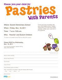 Pastries With Parents Invitation - PTO Today Pta School, School Fundraisers, School Events, School Counseling, School Stuff, Parent Board, Christian School, Teacher Organization, Teacher Appreciation Week