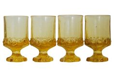 Yellow Thumbprint Glasses, S/4