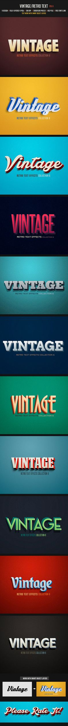 #Vintage / #Retro Text Col 6 - Text Effects Actions #Actions #Text #Letters #TextEffects #TextActions #Photoshop #PSActions