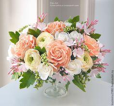 Купить В НАЛИЧИИ - Букет с розовым жасмином - кремовый, букет из полимерной глины, композиция из цветов