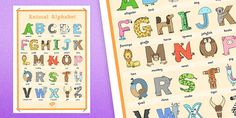 Lovely Animal Alphabet Large Display Poster with Words poster great for displaying if you don't have much space in your classroom.