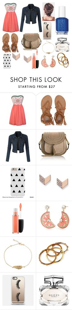 """Approved my Madi!!"" by haymill030507 ❤ liked on Polyvore featuring Billabong, LE3NO, Chloé, FOSSIL, MAC Cosmetics, Kate Spade, Ashley Pittman, Casetify, Gucci and Essie"