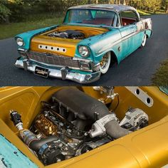 56 Chevy is  bagged and patina 4 door! chevroletperformance LS3 with a Vortech supercharger