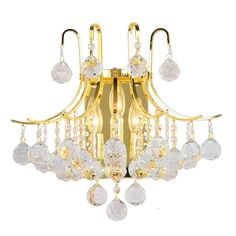 French Empire 3 Light Gold Finish and Clear Crystal Wall Sconce (3 Light Wall Sconce) (Brass)