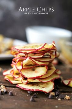Apple Chips - Thin and crispy Apple Chips made in the microwave! All you need is a few minutes before you can devour this delicious and super healthy Fall snack.