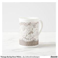 Shop Vintage Burlap Rose White Lace Bone China Mug created by JoSunshineDesigns. Burlap Roses, Burlap Lace, Wedding Gifts, Wedding Day, Unique Gifts For Her, China Mugs, Wedding Supplies, Bone China, White Lace